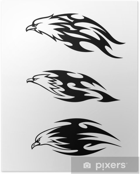 Eagle tattoos with flames Poster