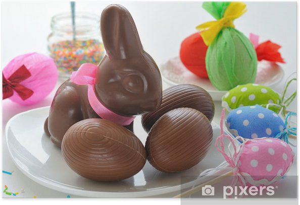 Easter Bunny and chocolate eggs Poster - International Celebrations