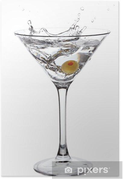 Poster Éclabousser Martini avec olive isolé sur blanc - Amérique