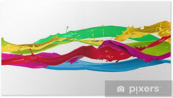 Poster Éclaboussures de peinture de couleur isolée sur fond blanc - Abstrait