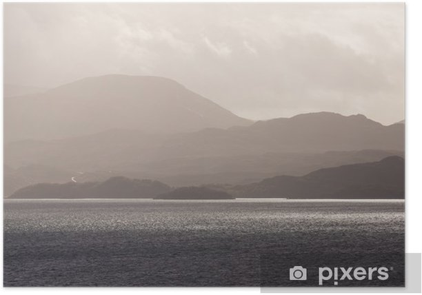 Poster Écossais Highland tempête - Eau
