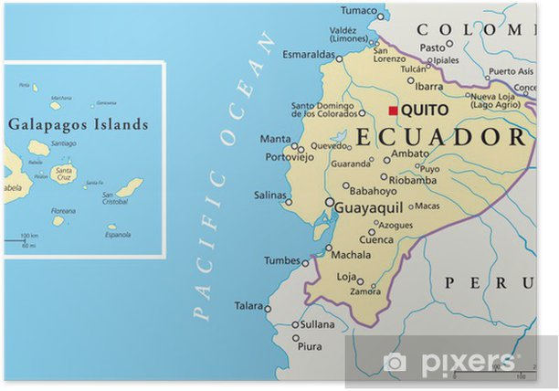 Ecuador and Galapagos Islands - Map Poster on nameless island, baltra island, pinta island, tierra del fuego on map, africa map, fernandina island, greater antilles map, cocos islands, maldives map, ethiopia map, dominican republic map, bay of fundy, iguazu falls, europe map, luxembourg map, caribbean map, puerto baquerizo moreno, galapagos national park, strait of magellan map, iceland islands map, puerto ayora map, honduras map, peru map, netherlands antilles map, aleutian islands map, charles darwin research station, ha long bay, genovesa island, puerto ayora, atacama map, isabela island, central america map, madagascar map, bahamas map,