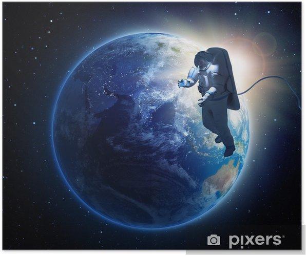 Poster Een astronaut ruimtewandeling - Ruimte