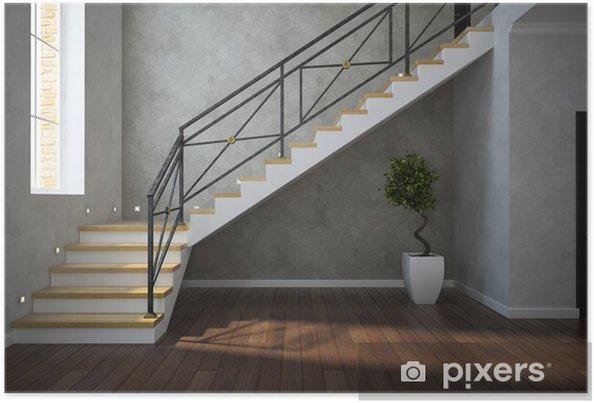 Poster een deel van het klassieke interieur trap view met plant