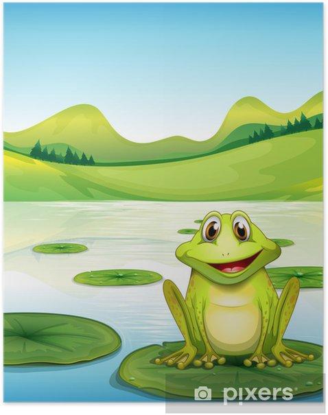 Poster Een kikker boven de waterlelie in de vijver - Andere Andere