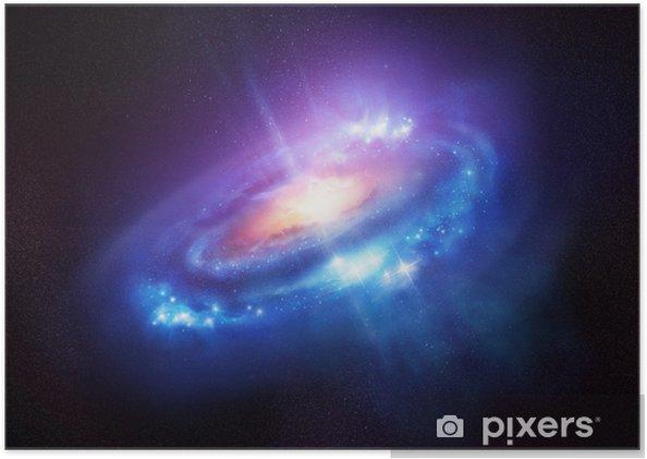 Poster Een kleurrijke Spiral Galaxy in Deep Space - Heelal
