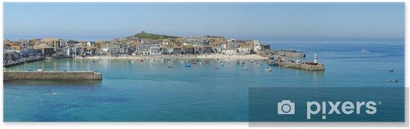 Poster Een panorama van St. Ives haven in Cornwall, Verenigd Koninkrijk. - Europa