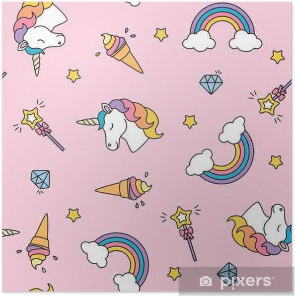 Poster Eenhoorn, regenboog en toverstok pastelkleuren naadloos patroon - Graphic Resources