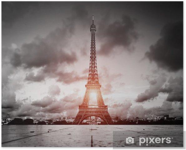 Poster Effel Tower, Paris, France. Noir et blanc avec la lumière du soleil rouge - Villes européennes