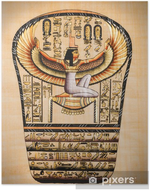 """Egyptian papyrus showing Isis, called as """"Mather of gods"""" Poster - Africa"""