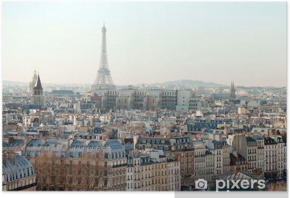 Eiffel Tower and roofs of Paris Poster - Themes