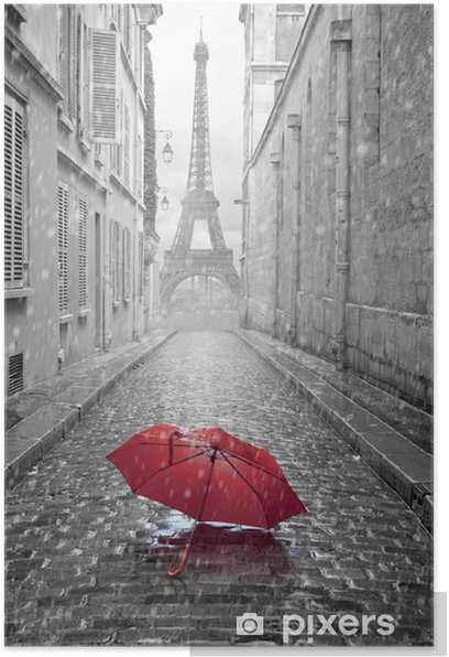 Eiffel tower view from the street of Paris Poster -