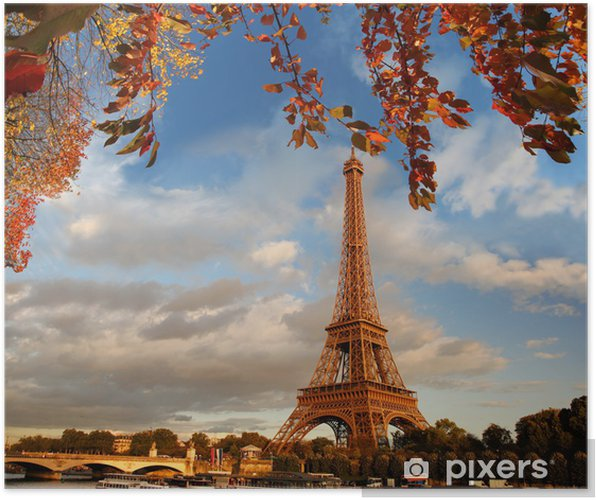 Poster Eiffeltoren met herfstbladeren in Parijs, Frankrijk - Thema's