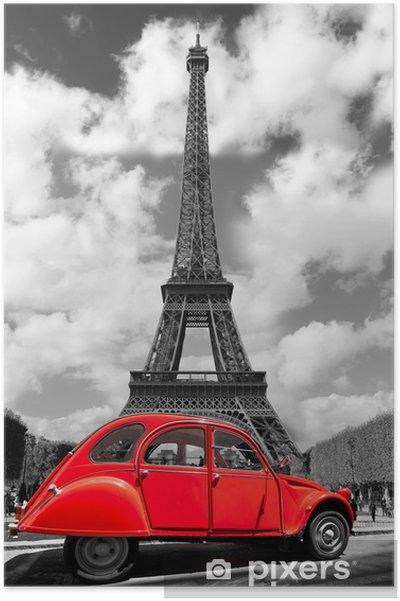 Poster Eiffeltoren met rode oude auto in Parijs, Frankrijk -