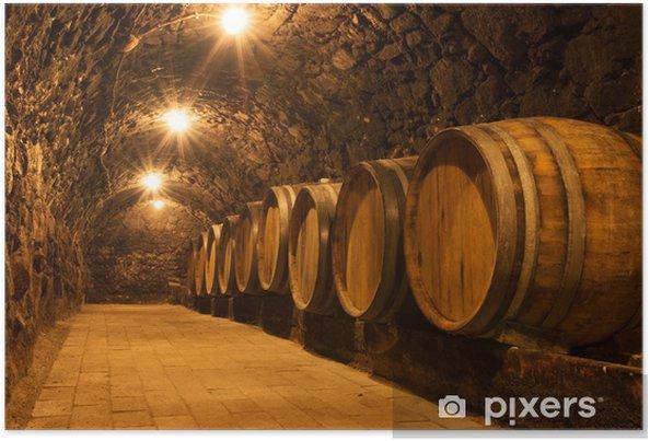 Poster Eikenhouten vaten in de tunnel van Tokaj wijnmakerijkelder, Hongarije - Thema's