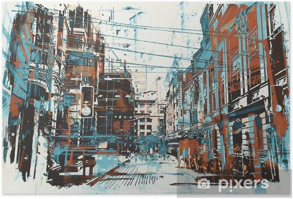 Póster Ejemplo de la pintura de la calle urbana con textura del grunge - Hobbies y entretenimiento