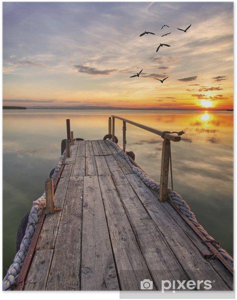 el embarcadero de madera Poster -
