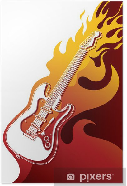 Electric Guitar Banner With Stylized Fire Poster Pixers We Live To Change