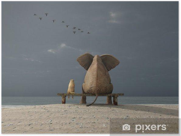 Póster Elefante y el perro se siente en una playa - iStaging