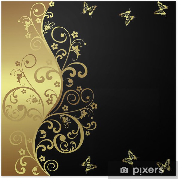 Elegant background with black and golden flowers Poster