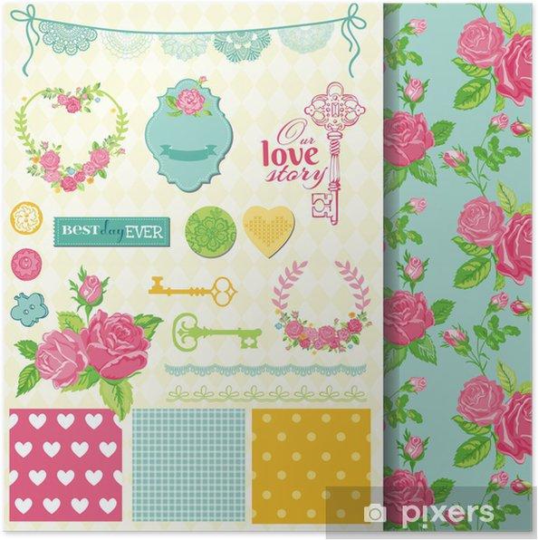 Poster Éléments de conception Scrapbook - floral Shabby Chic Thème - dans le vecteur - Arrière plans