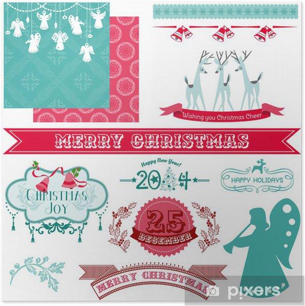 Joyeux Noel Et Nouvel An.Poster Elements De Conception Scrapbook Vintage Joyeux Noel Et Nouvel An