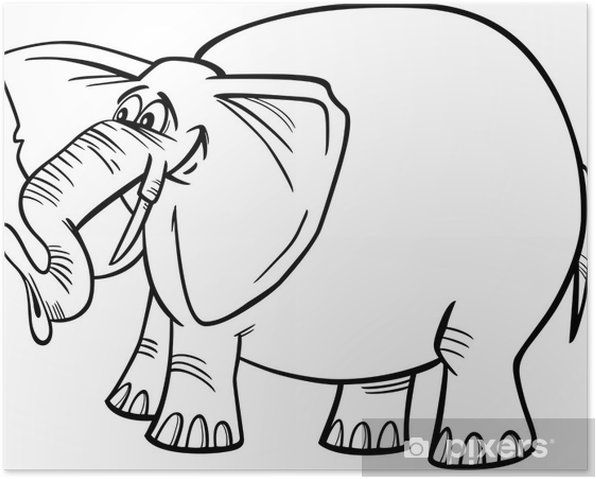 elephant cartoon illustration for coloring Poster - Wall decals