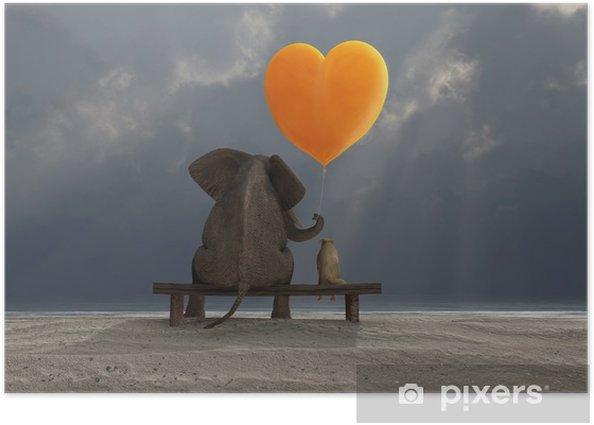 Poster Éléphant et un chien tenant un ballon en forme de coeur - Bonheur