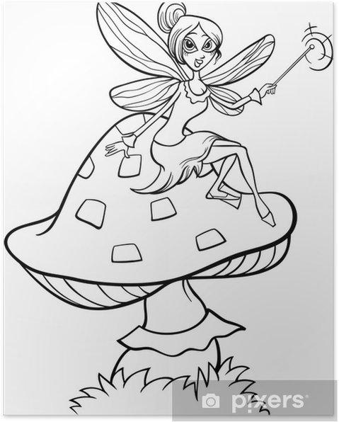 Póster Elfo fantasía de hadas para colorear de dibujos animados ...
