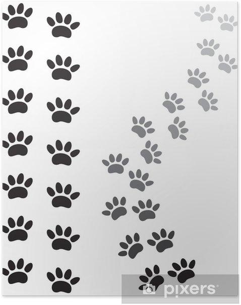 Poster Empreintes de pattes d'animaux - Mammifères