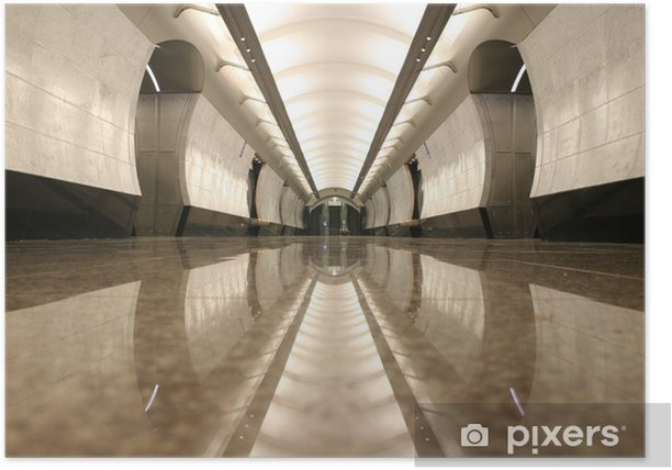 empty subway station floor Poster - Moscow