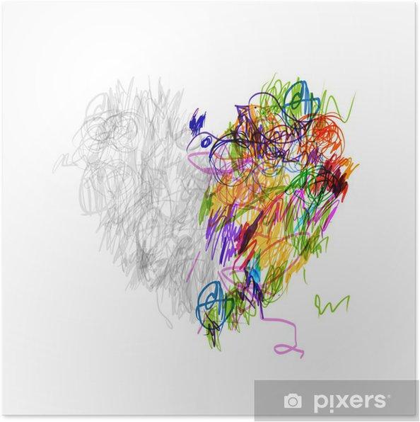 Poster en forme de coeur dessin au crayon pour votre conception pixers nous vivons pour changer - Dessin en forme de coeur ...