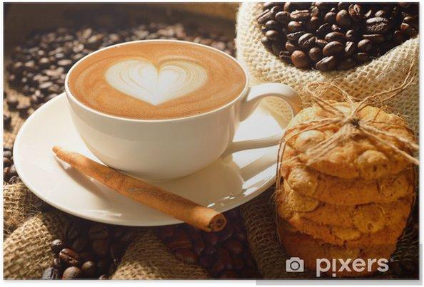 Poster En kopp kaffe latte med kaffebönor och kakor - Teman