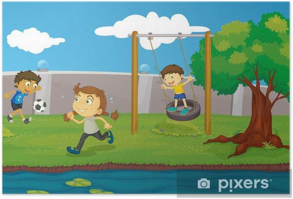 Poster Enfants dans le parc -