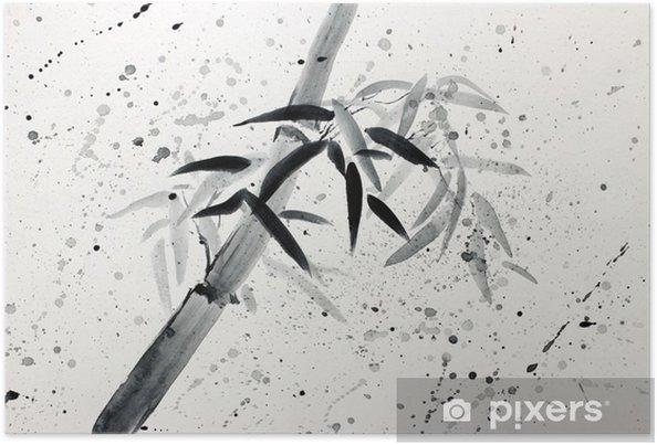 Poster Enkel bamboe en regendruppels - Hobby's en Vrije tijd