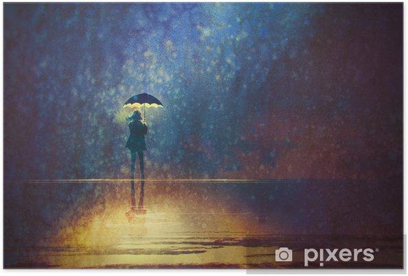 Poster Ensam kvinna under paraply ljus i mörkret, digital målning - Hobby och fritid