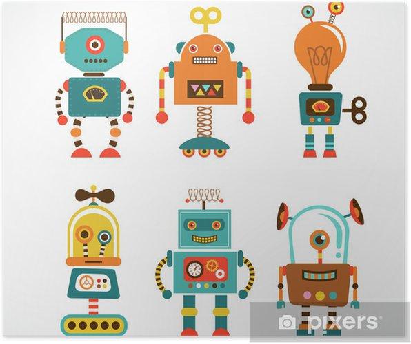 Poster Ensemble d'icônes de cru de robot - Styles