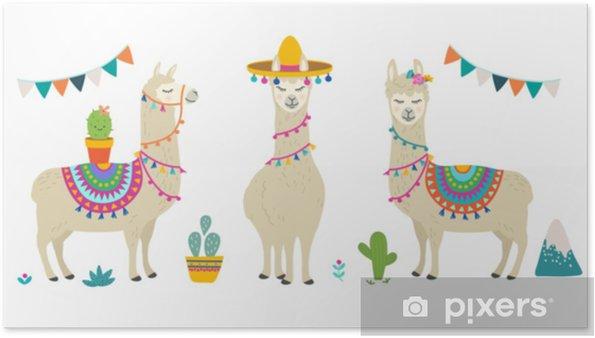 Poster Ensemble De Conception Graphique De Vecteur De Dessin Animé Mignon Lama Alpaga Illustration De Personnage De Lama Dessiné à La Main Et