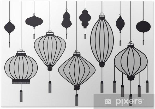 Poster Ensemble de lanterne chinoise, vecteur - Electricité