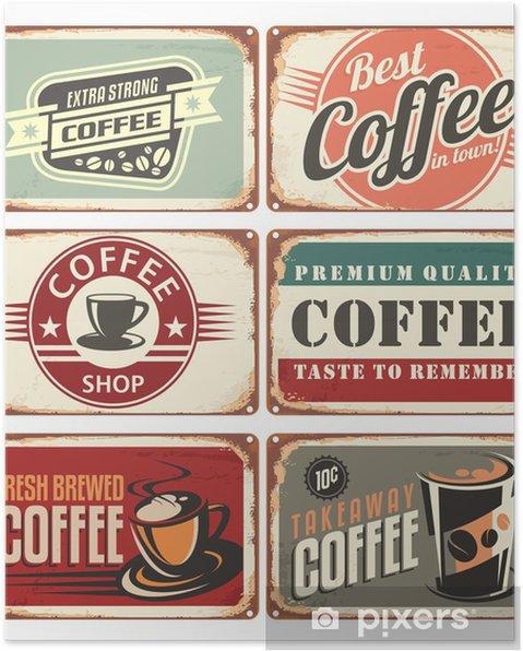 Poster Ensemble de signes d'étain de café cru - Styles
