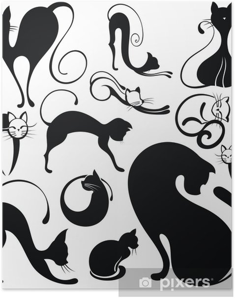 Poster Ensemble de silhouettes de chats - Destin