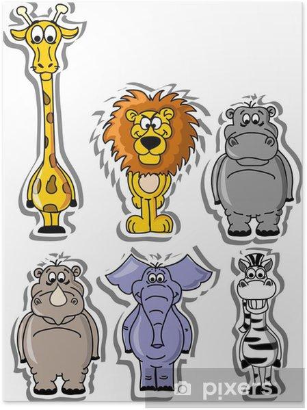 Poster Ensemble des animaux de dessin animé - Mammifères