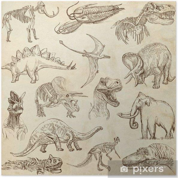 Poster Ensemble sur le vieux papier, tiré par la main pleine taille - Dinosaures no.3 - Autres Autres