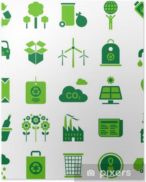 Poster Environnement vert et icônes de recyclage - Ecologie