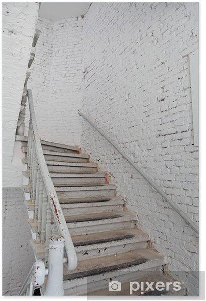 Escalier blanc sur mur blanc. Poster