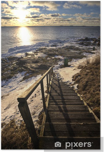 Poster Escaliers vers la plage à l'hiver - Thèmes