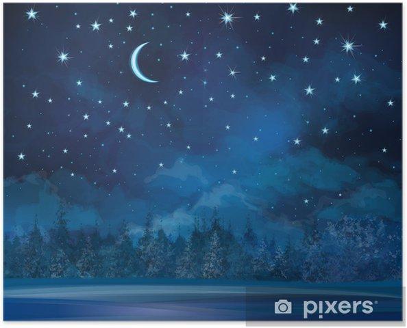 Póster Escena de invierno vector de la noche, el cielo y el fondo del bosque. - Temas