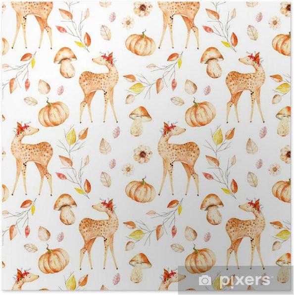 Póster Este patrón sin costura de otoño incluía ciervos, hojas de ...