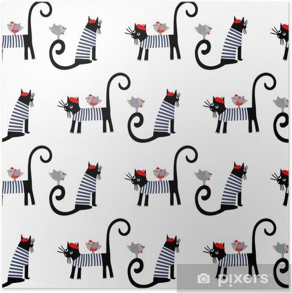 Póster Estilo francés de animales vestidos de patrones sin fisuras ...