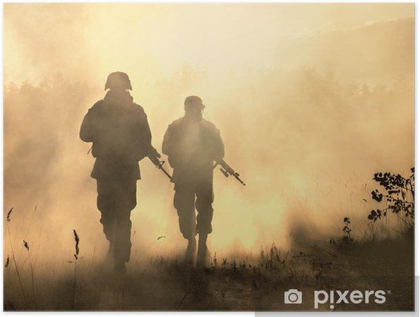 Poster états Unis Marines En Action Matériel Militaire Casque